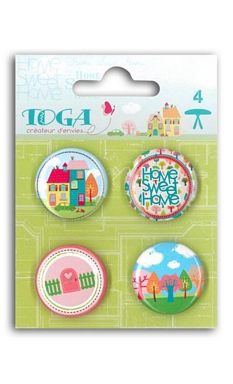 Conjunto de 4 brads badges Home Sweet Home