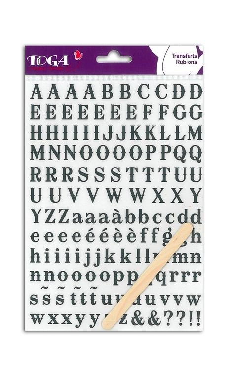Rub-ons Alfabeto Negro San Francisco - 1 hoja 15x21