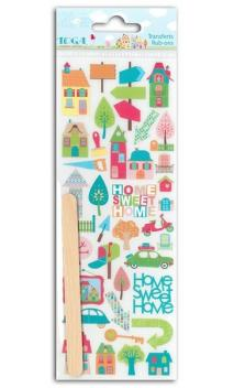 Rub-ons Colores Home Sweet Home - 1 hoja 7,5x20
