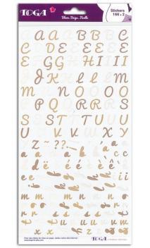 2 pl. stickers Alfabeto Blanco Crema Cuerda