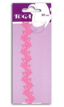 Puntilla autoadhesiva - Flores rosas - 90cm