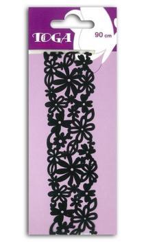 Puntilla autoadhesiva- Flores negras - 90cm