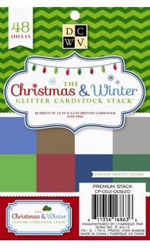 Christmas & Winter Glitter Cardstock Matstack