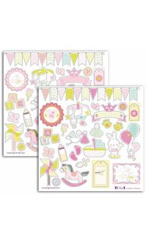 2 Hojas stickers 15x15 bout'chou rosa