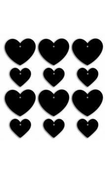 Etiquetas pizarra-pequeños&grandes corazones