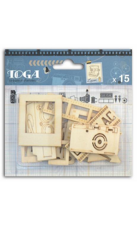 Surtido de 15 formas de madera  fotografic