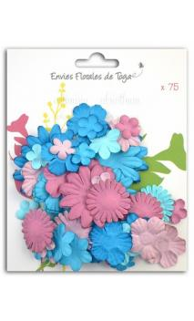 Surtido de 75 Flores mix aubergine azule