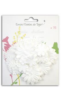 Surtido de 75 Flores mix formes blanches