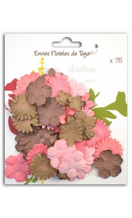 Surtido de 75 Flores mix formes brun, rosa